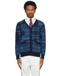 Beams Plus Cravate en soie rayée bleu marine et rouge