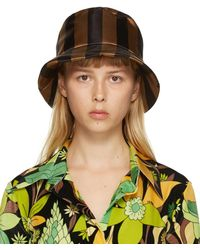 Fendi Chapeau tissé brun et noir Thick Stripes - Multicolore