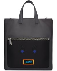 Fendi | Grey ' Faces' 'think' Tote | Lyst