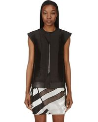 Rick Owens - Black Silk And Leather Laced Breast Plate Vest - Lyst