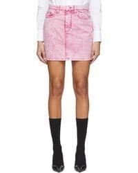 MSGM Pink Washed Denim Miniskirt