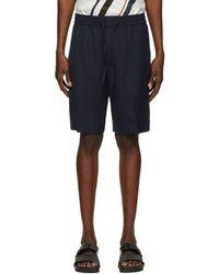 3.1 Phillip Lim Navy Twill Cruiser Shorts - Blue
