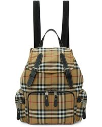 Burberry - Yellow Medium Vintage Check Backpack - Lyst