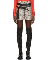 Unravel Project グレー モック パイソン トリプル ジッパー スカート