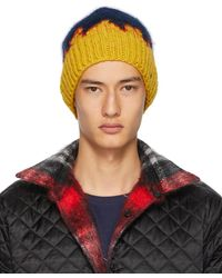 Bless Navy & Yellow Hand-knit Flame Tongue Beanie - Blue