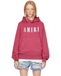Amiri Pull à capuche core rose à logo