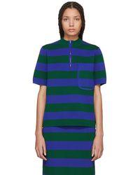 JOSEPH - Green And Blue Striped Milano Sweater - Lyst