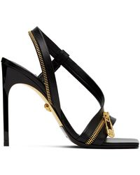 Versace Safety Pin Zipper Leather Slingback Sandals - Black