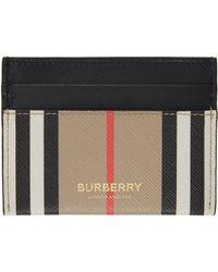 Burberry ベージュ E キャンバス ストライプ Icon カード ケース - ブラック