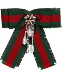 Gucci Red And Green Striped Ribbon Brooch