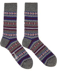 Junya Watanabe Grey & Purple Pattern Socks