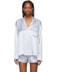 T By Alexander Wang - Blue Silk Embroidered Pajama Shirt - Lyst