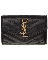 Saint Laurent Black And Gold Small Monogramme Envelope Wallet