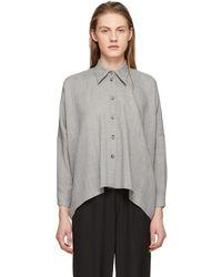 MM6 by Maison Martin Margiela - Grey Wool Button-up Shirt - Lyst