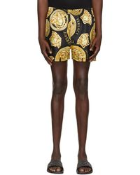 Versace ブラック And ゴールド Medusa Print ショーツ - マルチカラー