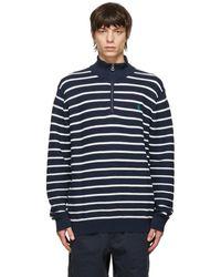 Polo Ralph Lauren ネイビー And ホワイト クォータージップ セーター - ブルー
