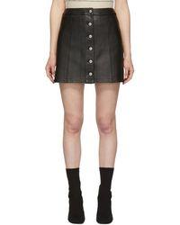 Rag & Bone ブラック ラムスキン Rosie ミニスカート