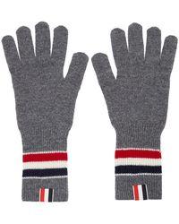 Thom Browne Gray Merino Rwb Stripe Gloves