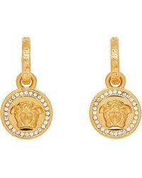 Versace Gold Diamond Medusa Earrings - Metallic