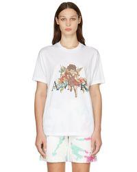 Amiri ホワイト Cherub ロゴ T シャツ