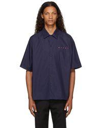 Marni ネイビー ロゴ ショート スリーブ ボウリング シャツ - ブルー