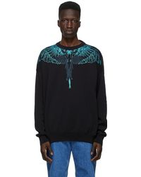 Marcelo Burlon Black Jacquard Wings Sweater