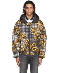Versace Jeans Couture リバーシブル ブラック タータン Baroque ダウン ジャケット - マルチカラー