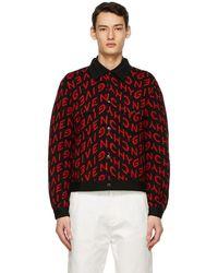 Givenchy ブラック & レッド Refracted ロゴ ボンバー ジャケット