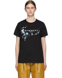 Givenchy - ブラック フローラル ロゴ T シャツ - Lyst