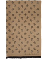 Alexander McQueen Tan Wool And Silk All Over Skull Scarf - Natural