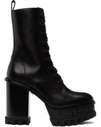 Versace ブラック Greca ヒール ブーツ