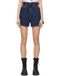 Ganni Navy Levis Edition Denim Wide-leg Shorts - Blue