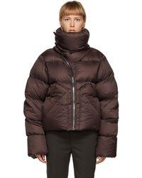 Rick Owens - Manteau en duvet à glissière asymétrique bourgogne Mountain - Lyst