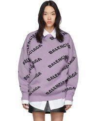 Balenciaga パープル オールオーバー ロゴ セーター