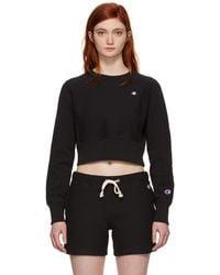 Champion - Black Cropped Small Logo Sweatshirt - Lyst