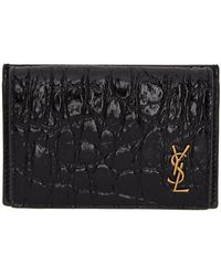 Saint Laurent - Croc Tiny Monogramme Foldover Card Holder - Lyst