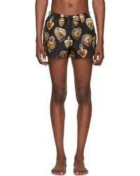 Dolce & Gabbana ブラック And ゴールド セイクリッドハートスイム ショーツ