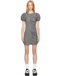 Ganni - ブラック & ホワイト チェック Ruched ドレス - Lyst