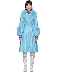 Saks Potts Ssense Exclusive Blue Shearling Foxy Gloss Coat