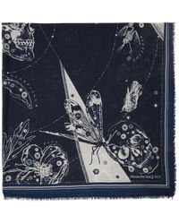 Alexander McQueen Off-white And Navy Cosmos Shawl - Blue