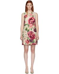 Dolce & Gabbana - Beige And Pink Peony Dress - Lyst