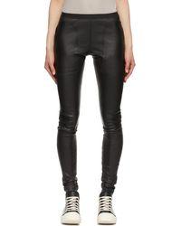 Rick Owens Pantalon en cuir extensible noir