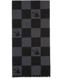 McQ - Black Checkerboard Swallow Scarf - Lyst