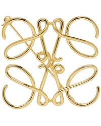 Loewe ゴールド アナグラム ブローチ - メタリック