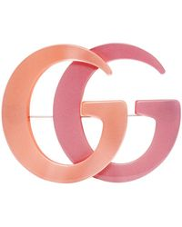 Gucci Orange & Pink Double G Brooch - Multicolor