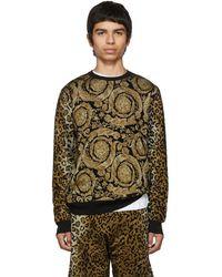 Versace ブラックレオパード Barocco プリント セーター - マルチカラー