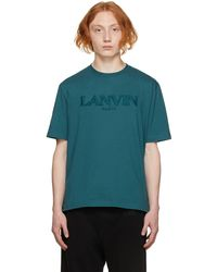 Lanvin ブルー Embroidered ロゴ T シャツ