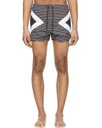 Neil Barrett - Black And White Modernist Striped Swim Shorts - Lyst