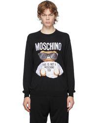 Moschino ブラック エンブロイダリー ロゴ クルーネック セーター