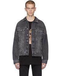 Palm Angels Black Denim Bleached Jacket